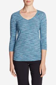 Women's Lookout 3/4-Sleeve V-Neck T-Shirt - Spacedye in Blue