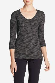 Women's Lookout 3/4-Sleeve V-Neck T-Shirt - Spacedye in Gray