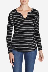 Women's Boyfriend Long-Sleeve Notch-Neck T-Shirt in Black
