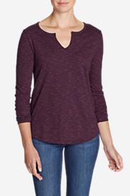 Women's Boyfriend Long-Sleeve Notch-Neck T-Shirt in Purple