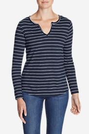 Women's Boyfriend Long-Sleeve Notch-Neck T-Shirt in Blue