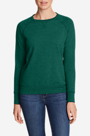 Women's Camp Fleece Long-Sleeve Crewneck Pullover in Green