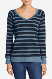 Women's Legend Wash Long-Sleeve V-Neck Sweatshirt - Stripe in Blue