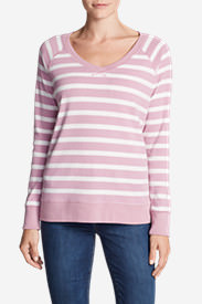 Women's Legend Wash Long-Sleeve V-Neck Sweatshirt - Stripe in Purple