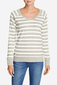 Women's Legend Wash Long-Sleeve V-Neck Sweatshirt - Stripe in Gray