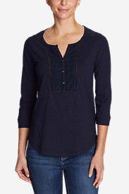 Women's Lola 3/4-Sleeve Henley Shirt in Blue