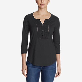 Women's Lola 3/4-Sleeve Henley Shirt in Gray