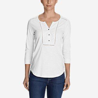 Women's Lola 3/4-Sleeve Henley Shirt in White