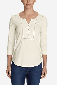 Women's Lola 3/4-Sleeve Henley Shirt in White