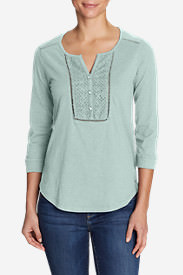 Women's Lola 3/4-Sleeve Henley Shirt in Green
