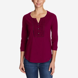 Women's Lola 3/4-Sleeve Henley Shirt in Red