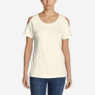 Women's Mountain Meadow Cold Shoulder T-Shirt in White