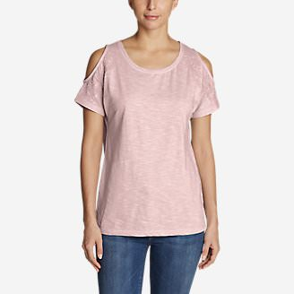 Women's Mountain Meadow Cold Shoulder T-Shirt in Red
