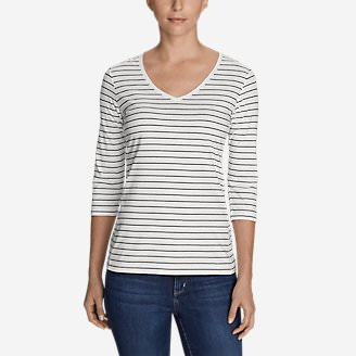 Women's Lookout 3/4-Sleeve V-Neck T-Shirt - Stripe in White