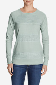 Women's Legend Wash Sweatshirt - Crochet Stripes in Green