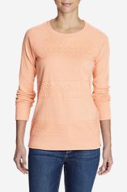 Women's Legend Wash Sweatshirt - Crochet Stripes in Orange