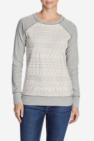 Women's Legend Wash Crochet Sweatshirt in Gray