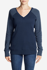 Women's Legend Wash Stripe-Block V-Neck Sweatshirt in Blue