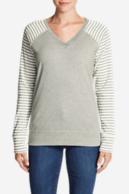 Women's Legend Wash Stripe-Block V-Neck Sweatshirt in Gray