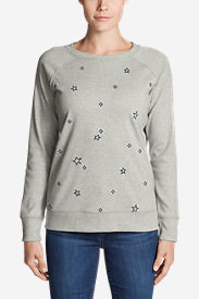 Women's Legend Wash Embroidered Crewneck Sweatshirt in Gray