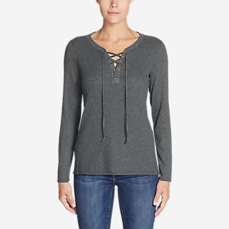 Women's Stine's Favorite Waffle Lace-Up Top - Mixed Media in Gray