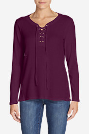 Women's Stine's Favorite Waffle Lace-Up Top - Mixed Media in Purple