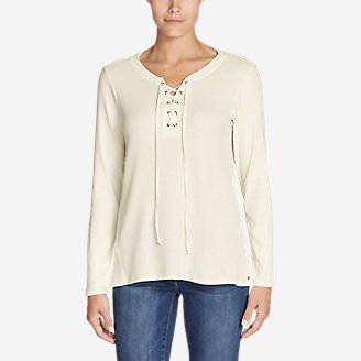Women's Stine's Favorite Waffle Lace-Up Top - Mixed Media in White