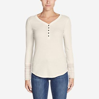 Women's Stine's Favorite Waffle Henley - Print Sleeve in White