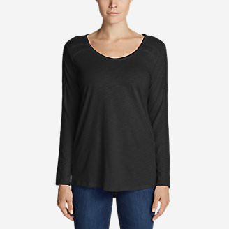 Women's Willow Lace Long-Sleeve Scoop T-Shirt in Black
