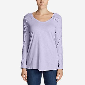 Women's Willow Lace Long-Sleeve Scoop T-Shirt in Purple