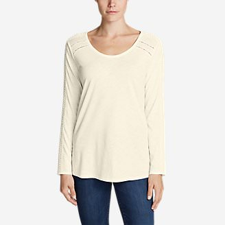 Women's Willow Lace Long-Sleeve Scoop T-Shirt in White