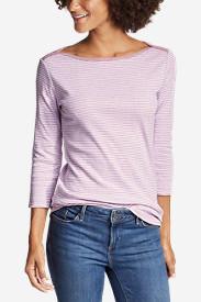Women's Favorite 3/4-Sleeve Bateau Top - Stripe in Purple