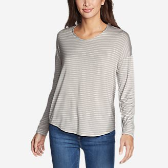 Women's Celestial Ultrasoft Long-Sleeve V-Neck T-Shirt in Gray