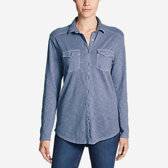 Women's Ravenna Long-Sleeve Button-Front Shirt - Boyfriend in Blue