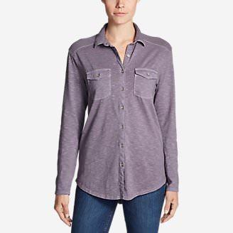 Women's Ravenna Long-Sleeve Button-Front Shirt - Boyfriend in Purple