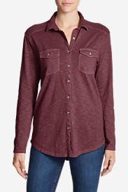 Women's Ravenna Long-Sleeve Button-Front Shirt - Boyfriend in Red