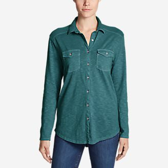 Women's Ravenna Long-Sleeve Button-Front Shirt - Boyfriend in Green