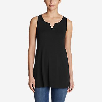 Women's Favorite Notched-Neck Tunic Tank Top in Black