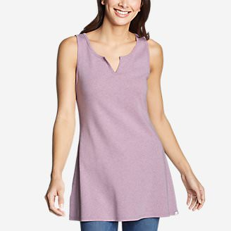 Women's Favorite Notched-Neck Tunic Tank Top in Purple