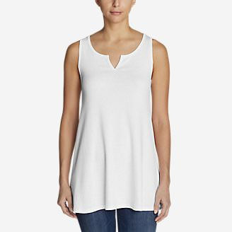 Women's Favorite Notched-Neck Tunic Tank Top in White