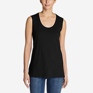 Women's Legend Wash Slub Sleeveless Scoop-Neck Tunic Tank Top in Black