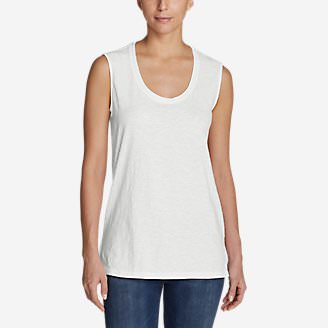 Women's Legend Wash Slub Sleeveless Scoop-Neck Tunic Tank Top in White