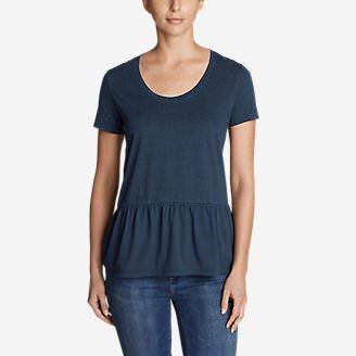 Women's Gypsum Short-Sleeve Peplum T-Shirt in Blue