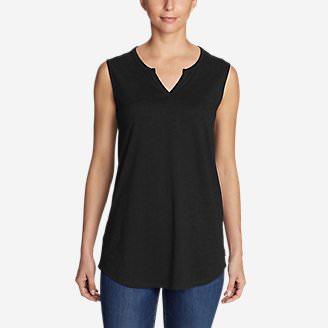 Women's Gate Check Sleeveless Split-Neck Tunic in Black