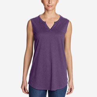 Women's Gate Check Sleeveless Split-Neck Tunic in Purple