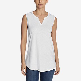 Women's Gate Check Sleeveless Split-Neck Tunic in White