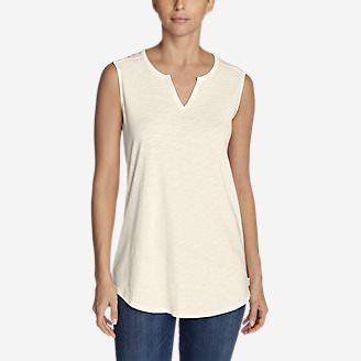 Women's Gate Check Sleeveless Split-Neck Tunic in White