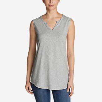 Women's Gate Check Sleeveless Split-Neck Tunic in Gray