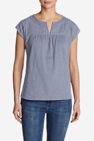 Women's Laurel Canyon Short-Sleeve Cross-Stitch T-Shirt in Blue