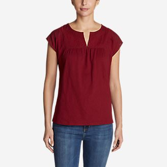 Women's Laurel Canyon Short-Sleeve Cross-Stitch T-Shirt in Red